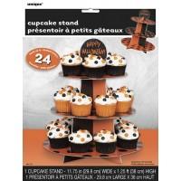"Orange & Black Dots Cupcake Stand - 15""H."