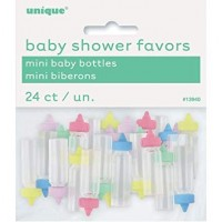Mini Plastic Baby Bottles - Assorted Colours - 24ct