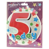 Age 5 Male Party Badge (15cm)
