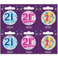 Age 21 Small Badges (5.5cm)