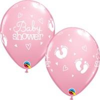 "Baby Shower - Footprints & Hearts 11"" Latex Balloons - Pink 25Ct"