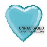 "Baby Blue - Heart Shape - 18"" foil balloon (Pack of 12, Flat)"
