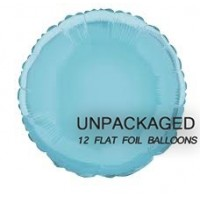 """Baby Blue - Round Shape - 18"""" foil balloon (Pack of 12, Flat)"""