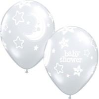 "BABY SHOWER MOON & STARS 11"" DIAMOND CLEAR (25CT)"