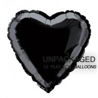 "Black - Heart Shape - 18"" foil balloon (Pack of 12, Flat)"