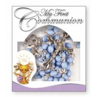 Communion Rosary - Plastic - Blue - Counter Display Pack of 12