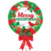 Merry Christmas Wreath Supershape 28in x 21in Foil Balloon