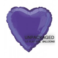 "Deep Purple - Heart Shape - 18"" foil balloon (Pack of 12, Flat)"