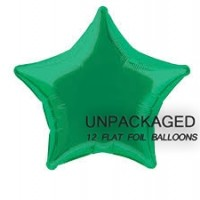 "Green - Star Shape - 20"" foil balloon (Pack of 12, Flat)"