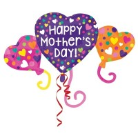 Heart Trio Mother's Day Day Supershape 38x27inch Foil Balloon