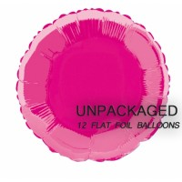 """Hot Pink - Round Shape - 18"""" foil balloon (Pack of 12, Flat)"""