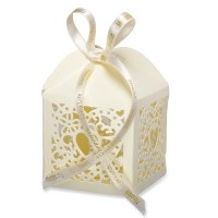 Favour Box Lazer Heart 50 x 50 x 75mm Ivory - 10 per pack