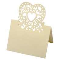 Place Card Lazer Heart 80 x 120mm Ivory - 10 per pack