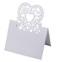 Place Card Lazer Heart 80 x 120mm White - 10 per pack