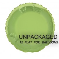 """Lime Green - Round Shape - 18"""" foil balloon (Pack of 12, Flat)"""