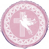 Dove and Cross Confirmation 18inch Pink Foil Balloon