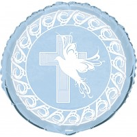 Dove and Cross Confirmation 18inch Blue Foil Balloon
