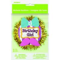 Deluxe Button Badge Birthday Girl 3D