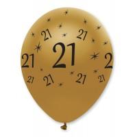 "Black/Gold 21th Birthday 12"" Latex 50ct"