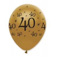 "Black/Gold 40th Birthday 12"" Latex 50ct"