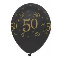 "Black/Gold 50th Birthday 12"" Latex 50ct"