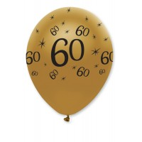 "Black/Gold 60th Birthday 12"" Latex 50ct"