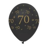 "Black/Gold 70th Birthday 12"" Latex 50ct"