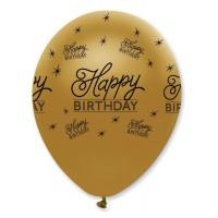 "Black/Gold Happy Birthday 12"" Latex 50ct"