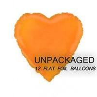 "Orange - Heart Shape - 18"" foil balloon (Pack of 12, Flat)"