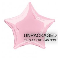 """Pastel Pink - Star Shape - 20"""" foil balloon (Pack of 12, Flat)"""