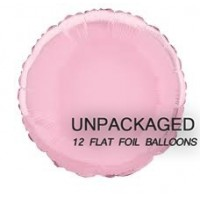 """Pastel Pink - Round Shape - 18"""" foil balloon (Pack of 12, Flat)"""