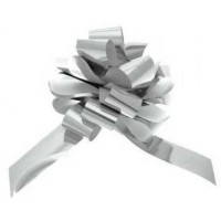 Metallic Silver Pull Bow 50mm - Pack of 20