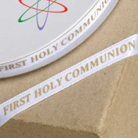 1st Holy Communion Ribbon 6mm x 25M White/Gold