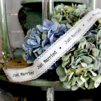 Just Married Linen Ribbon 40mm x 5yds