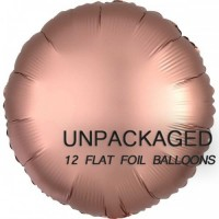 """Rose Gold - Round Shape - 18"""" foil balloon (Pack of 12, Flat)"""