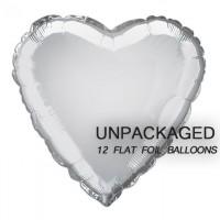 "Silver - Heart Shape - 18"" foil balloon (Pack of 12, Flat)"