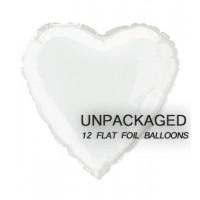"""White - Heart Shape - 18"""" foil balloon (Pack of 12, Flat)"""