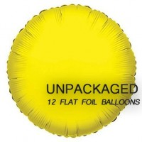 """Yellow - Round Shape - 18"""" foil balloon (Pack of 12, Flat)"""