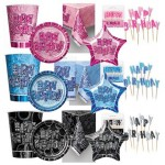 Birthday Glitz - Pink - Blue - Black/Silver