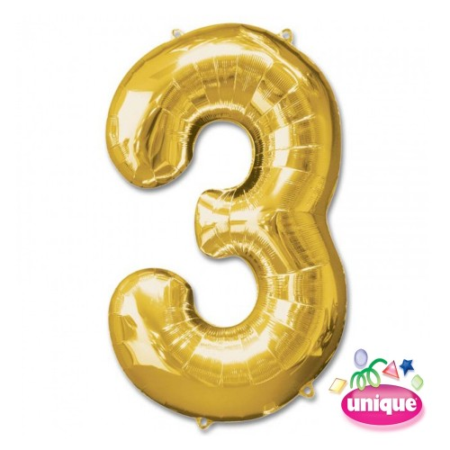 "34"" Gold Number 3 foil balloon"