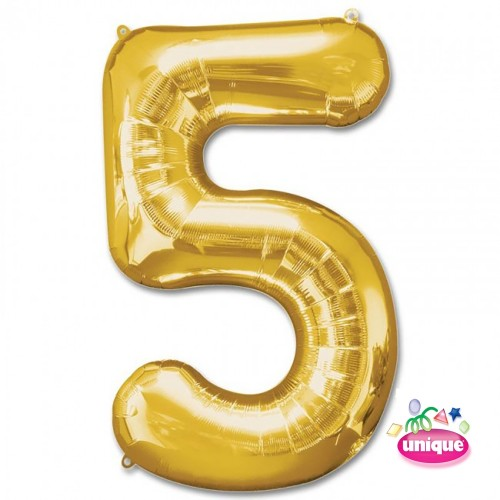 "34"" Gold Number 5 foil balloon"