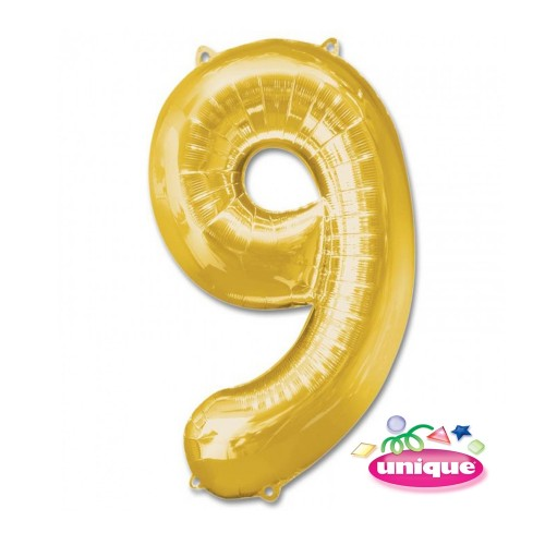 """34"""" Gold Number 9 foil balloon"""
