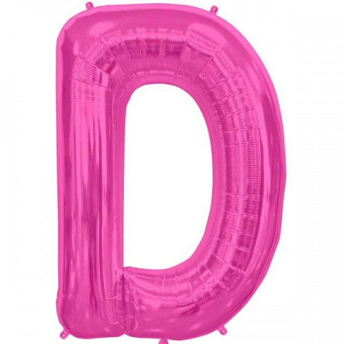 "Hot Pink Letter D Shape 34"" Foil Balloon"