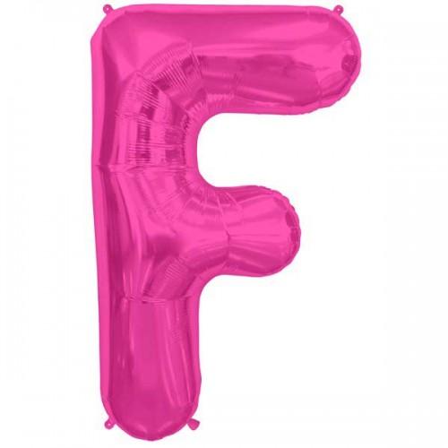 "Hot Pink Letter F Shape 34"" Foil Balloon"