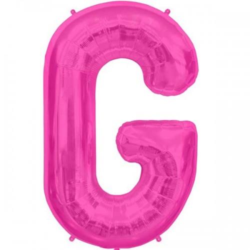 "Hot Pink Letter G Shape 34"" Foil Balloon"