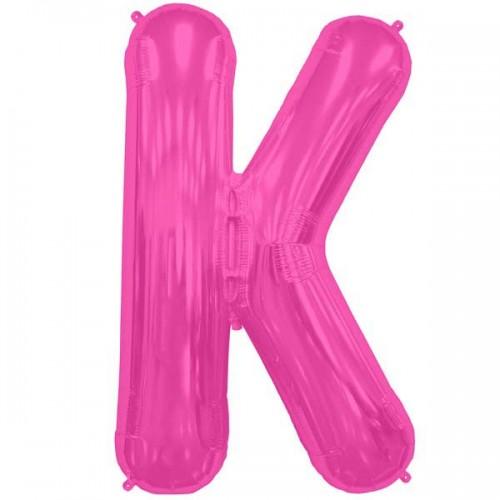 "Hot Pink Letter K Shape 34"" Foil Balloon"