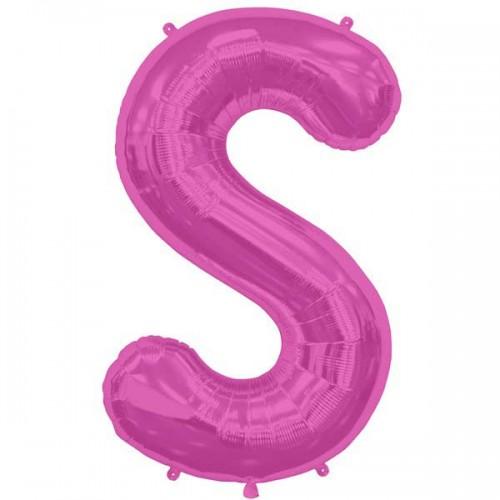 "Hot Pink Letter S Shape 34"" Foil Balloon"