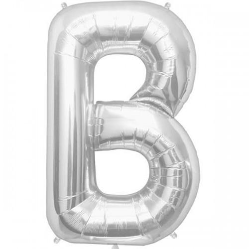 "Silver Letter B Shape 34"" Foil Balloon"