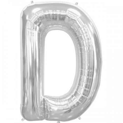 "Silver Letter D Shape 34"" Foil Balloon"