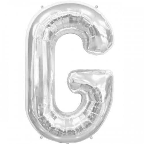 "Silver Letter G Shape 34"" Foil Balloon"